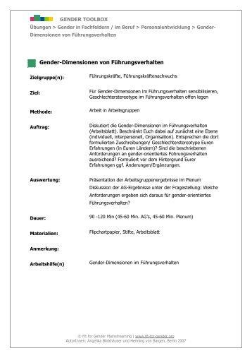 Dimension Führungs- verhalten - Gender Toolbox