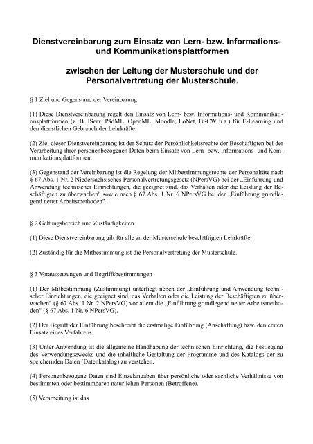 Dienstvereinbarung zum Einsatz von Lern- bzw. Informations - NiBiS ...