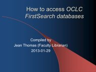 How to Access OCLC FirstSearch Databases - Faculty-Librarian