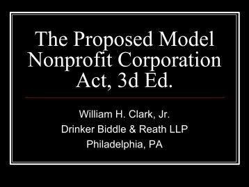 Proposed Model Nonprofit Corporation Act - IACA