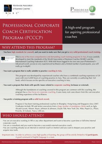 Professional Corporate Coach Certification Program ... - Progress-U