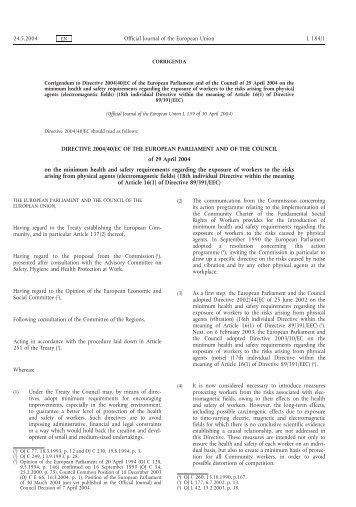 DIRECTIVE 2004/40/EC OF THE EUROPEAN ... - EUR-Lex
