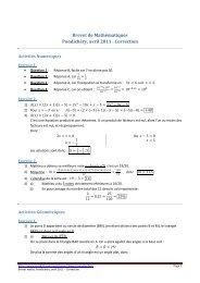 Brevet de Mathématiques Pondichéry, avril 2011 : Correction - Math93