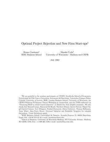Optimal Project Rejection and New Firm Start-ups1 - Annual ...