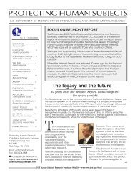 In this issue - Department of Energy Human Subjects Research ...