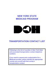 New York State Medicaid Transportation Contact List - eMedNY