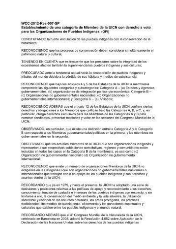 WCC-2012-Res-007-SP Establecimiento de una ... - IUCN Portals