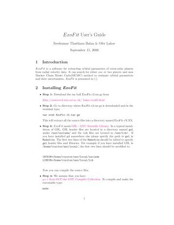 ExoFit User's Guide
