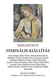 Merítés a KUT-ból XV. - FEMINÁLIS KIÁLLÍTÁS - Haas-Galéria