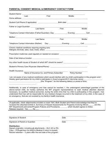 Parental Consent/Medical & Emergency Form