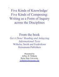 Five Kinds of Knowledge/ Five Kinds of Composing: Writing as a ...