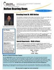 our November 2010 Winter Newsletter - Helton Hearing Care