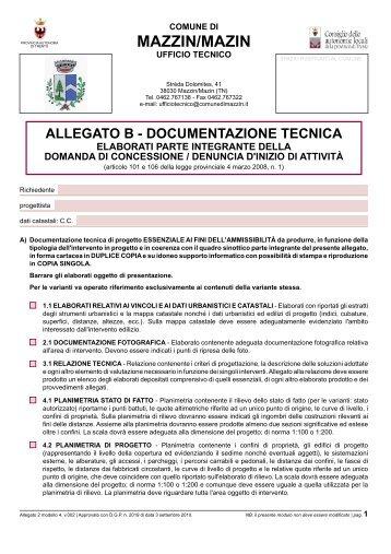 Allegato B - Documentazione tecnica - Comun General de Fascia