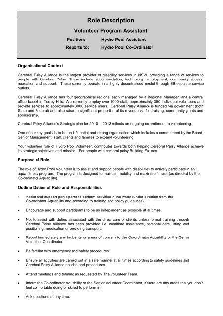 Role Description - Hydro Pool - Cerebral Palsy Alliance