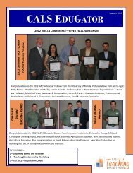 cals edugator - College of Agricultural and Life Sciences - University ...