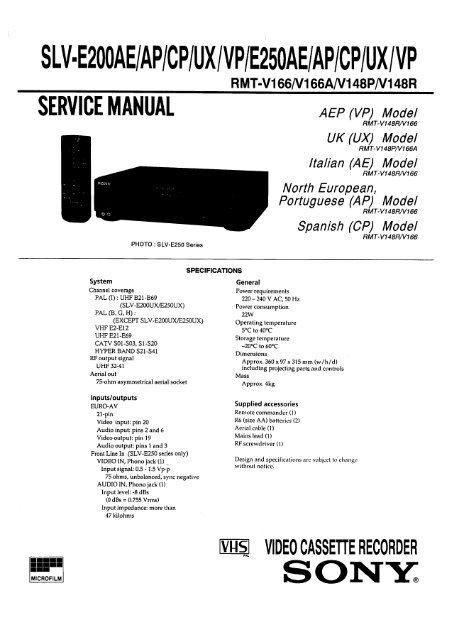 SLV-E200AE AP CP UX VP E250AE AP CP UX VP - diagramas ...