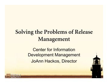 Solving the Problems of Release Management - Center for ...