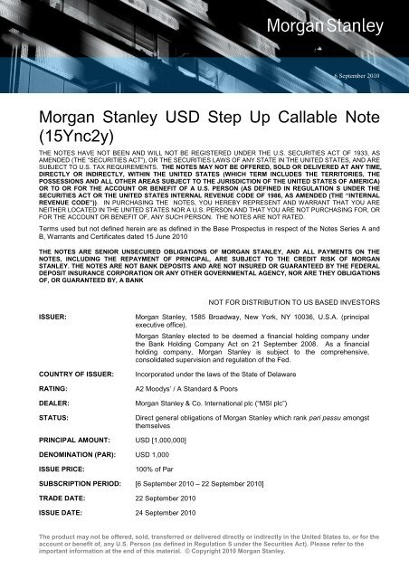 Morgan Stanley USD Step Up Callable Note (15Ync2y)