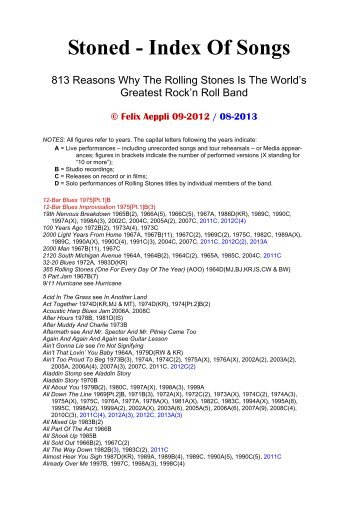 Stoned - Index Of Songs - Felix Aeppli's Main Site