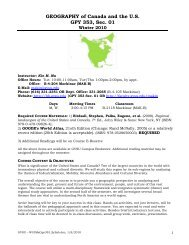 GEOGRAPHY of Canada and the U.S. GPY 353, Sec. 01 - Gvsu