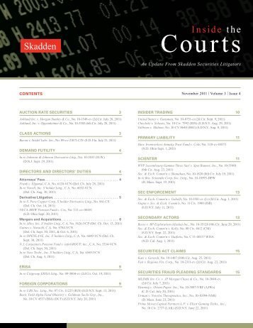 Inside the Courts | Volume 3 | Issue 4 | November 2011 - Skadden
