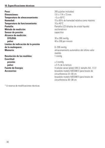 10. Especificaciones técnicas Peso: 265 g (pilas incluidas ...