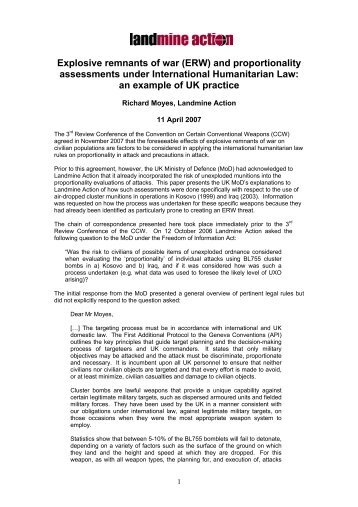 (ERW) and proportionality assessments under ... - Landmine Action