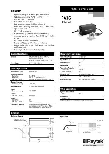 to download the Raytek Marathon FA1G Datasheet in PDF format