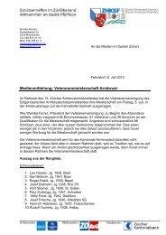 Medienmitteilung: Veteranenmeisterschaft Armbrust - ZKAV