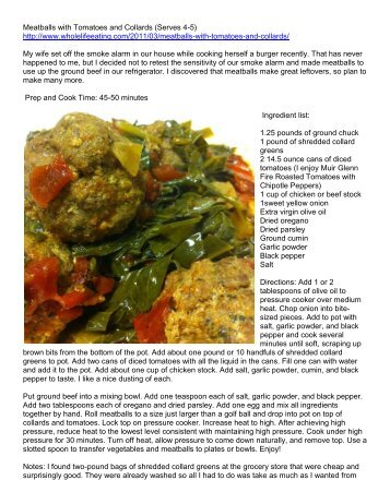 meatballs with tomatoes and collards serves 4 whole life eating