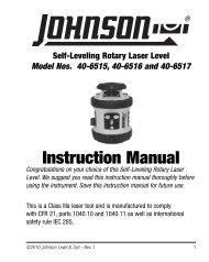Instruction Manual - Johnson Level