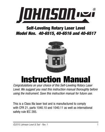 Instruction Manual - Johnson Level