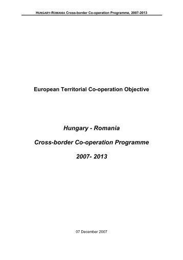 Romania Cross-border Co-operation Programme ... - Infocooperare