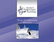 Winter 2012 Newsletter - Association for Applied Sport Psychology