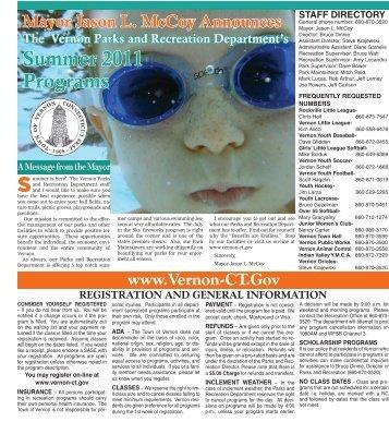Summer 2011 Programs - Town of Vernon
