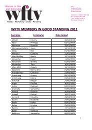 WFTV MEMBERS IN GOOD STANDING 2011 Surname Forename ...