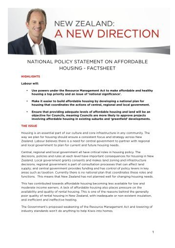 NATIONAL POLICY STATEMENT ON AFFORDABLE HOUSING ...