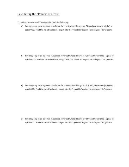 Power Calculation Worksheet