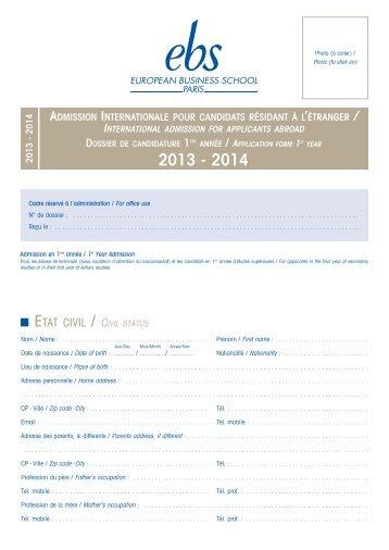 Dossier de candidature 1ère Année pour étudiants ... - EBS Paris
