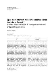 Spor Kurumlarının Yönetim Kademelerinde Kadınların ... - Arastirmax