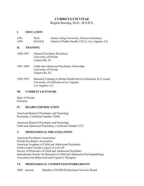 CURRICULUM VITAE Regina Bussing, MD, MSHS - Child Study Lab