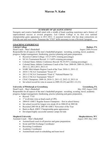Marcus Kahn\u0027s Resume - Coaches Inc
