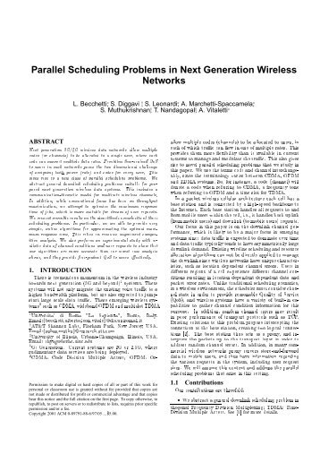 Parallel Scheduling Problems in Next Generation Wireless ... - licos