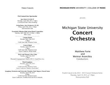 Concert Orchestra - MSU College of Music - Michigan State University