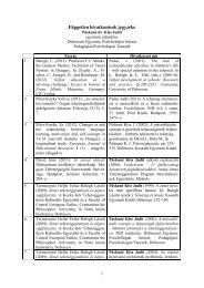 Hivatkozások listája - DE Pszichológiai Intézet - Debreceni Egyetem