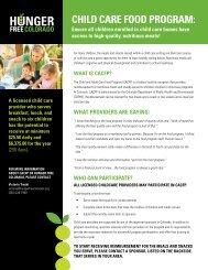 Child Care Food Program: - Hunger Free Colorado
