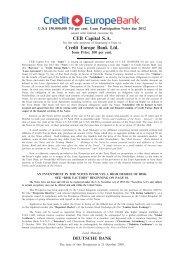 CEB Capital S.A. Credit Europe Bank Ltd.