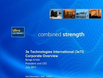 3e Technologies International (3eTI) Corporate Overview - Ultra ...