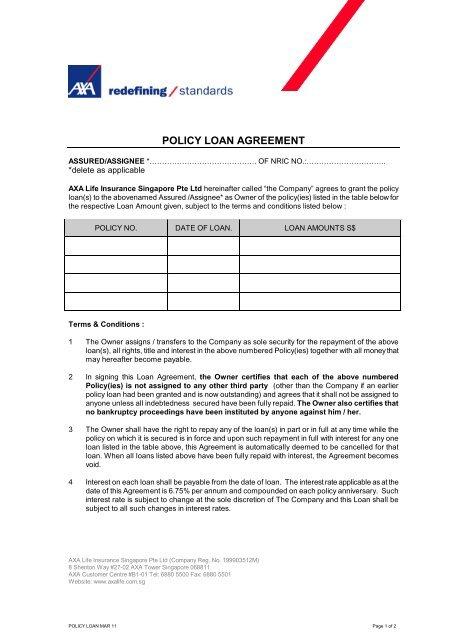 Policy Loan Agreement Form Axa Life Insurance Singapore