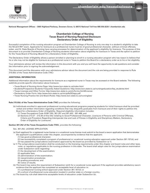 Chamberlain College Of Nursing Texas Board Of Nursing Required